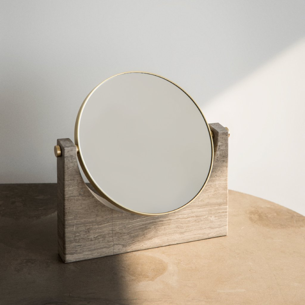Pepe Marble Mirror- Brass/Honed Brown