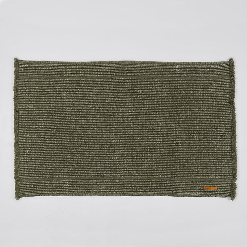 Vintage Wash Ribbed Bath Mat- Olive