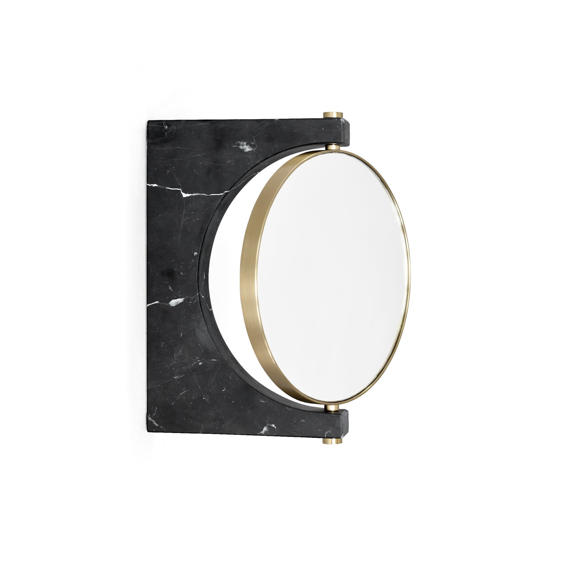 Pepe Marble Mirror, Wall- Brass/Black