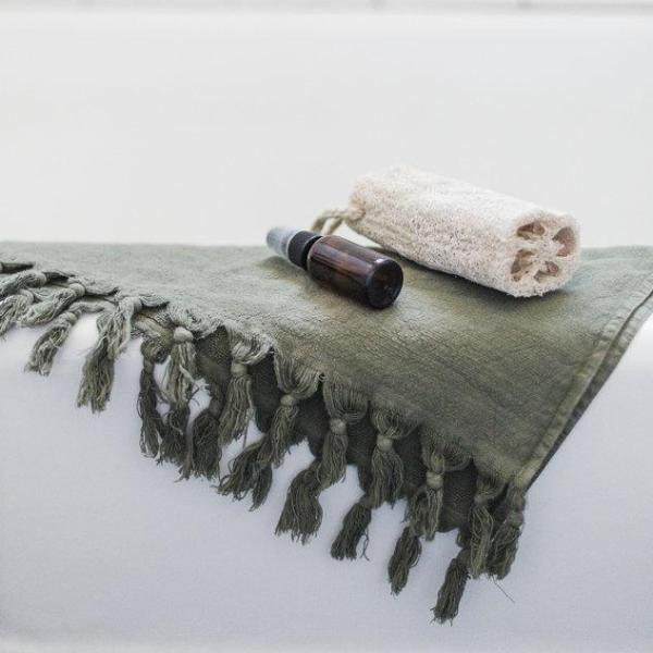 Vintage Wash Bath Towel- Olive