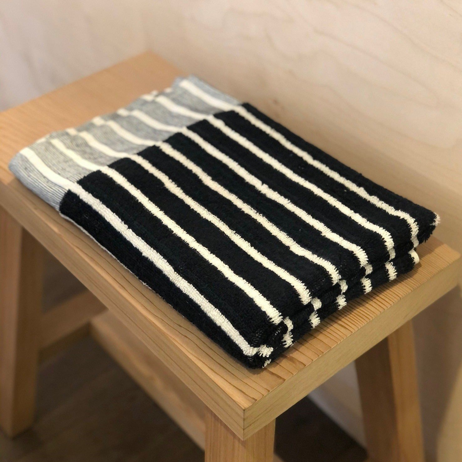 Havva Stripe Bath Mat- Black with Natural