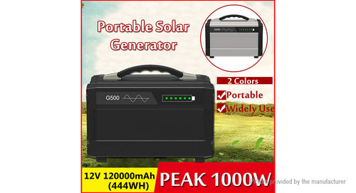 G500 Portable Solar Generator Inverter Emergency UPS Supply (120000mAh)
