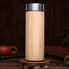 Bamboo Thermos Bottle 360ml Stainless Steel Tumbler Vacuum Flasks Insulated Bottle.