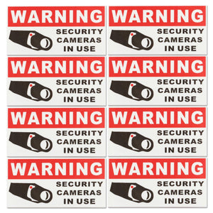 8Pcs SECURITY CAMERA Waterproof Self-adhensive Warning Stickers Safety Signs Decal.