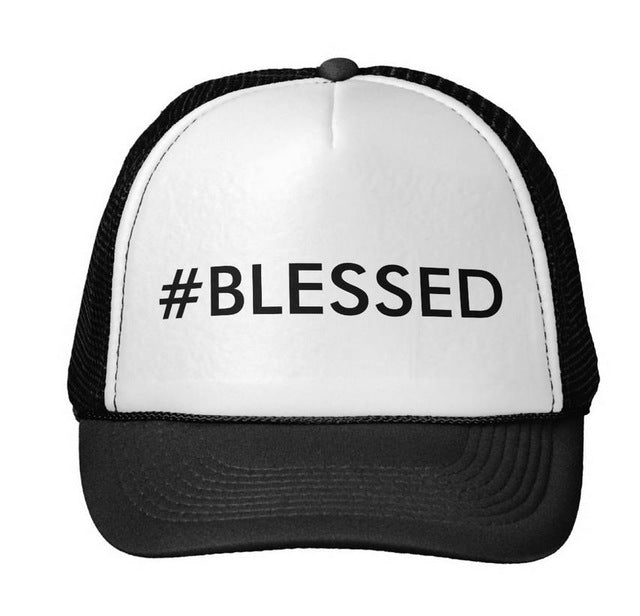 #blessed Letters Print Baseball Cap Trucker Hat For Women Men Unisex Mesh Adjustable Size Black White Drop Ship M-83