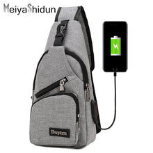 Outside travel Crossbody Bags for Men Messenger Chest Bag. Anti-thief USB charging Bag And Waterproof Single Strap.