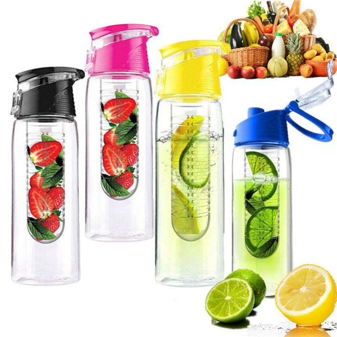 800ml Fruit Infusing Infuser Water. For  Bicycle Health.  Eco-Friendly BPA Detox Bottle Flip Lid