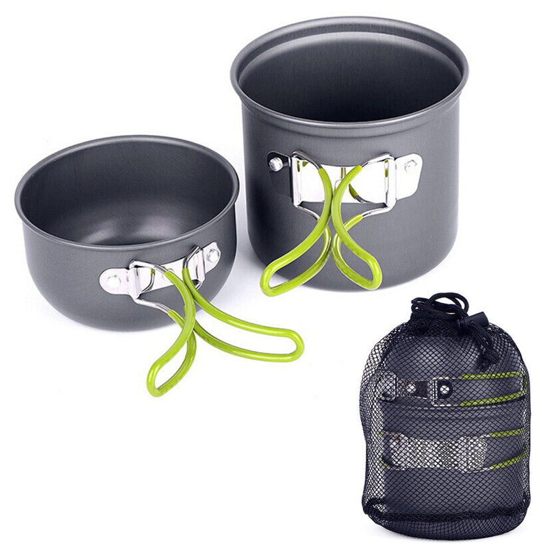 Outdoor Aluminum Pots Pans Bowls with foldable handle. Camping Cooking Set non-stick Cookware YHEJ