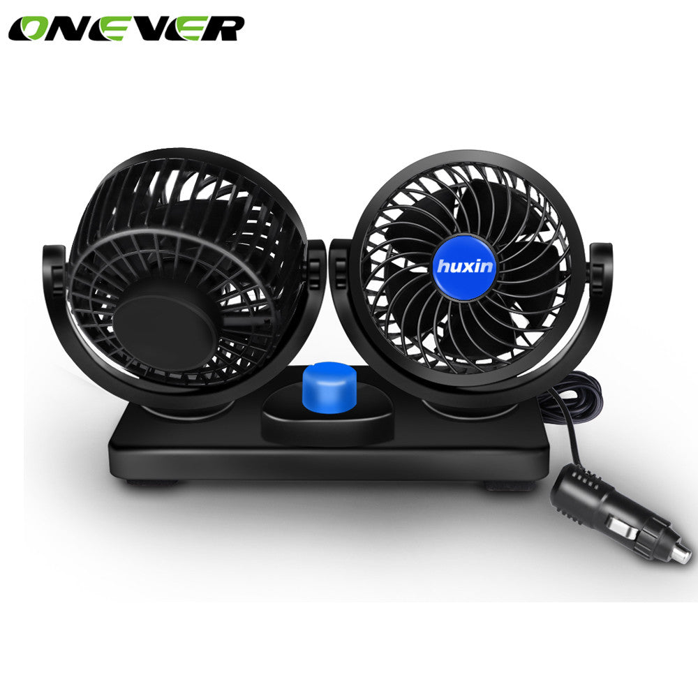 Onever 12V Car Cooling Fan. Rotatable. Dual Head 2 Adjustable Speed Dashboard Electric Auto Fan.