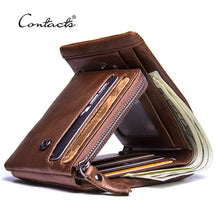 CONTACT'S Genuine Crazy Horse Leather Men Wallets. Vintage Trifold Zip Coin Pocket wallet.