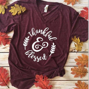 T-Shirts Thankful Blessed Lettering Printed girls  V-Neck Short Sleeve Tops.