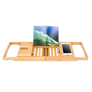 Portable Multi-function Bathtub Storage Rack Wood Color