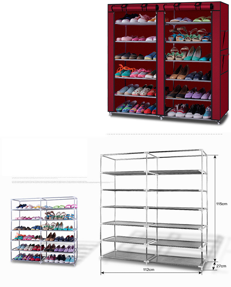 6-Row 2-Line 12 Lattices Non-woven Fabric Shoe Rack Wine Red