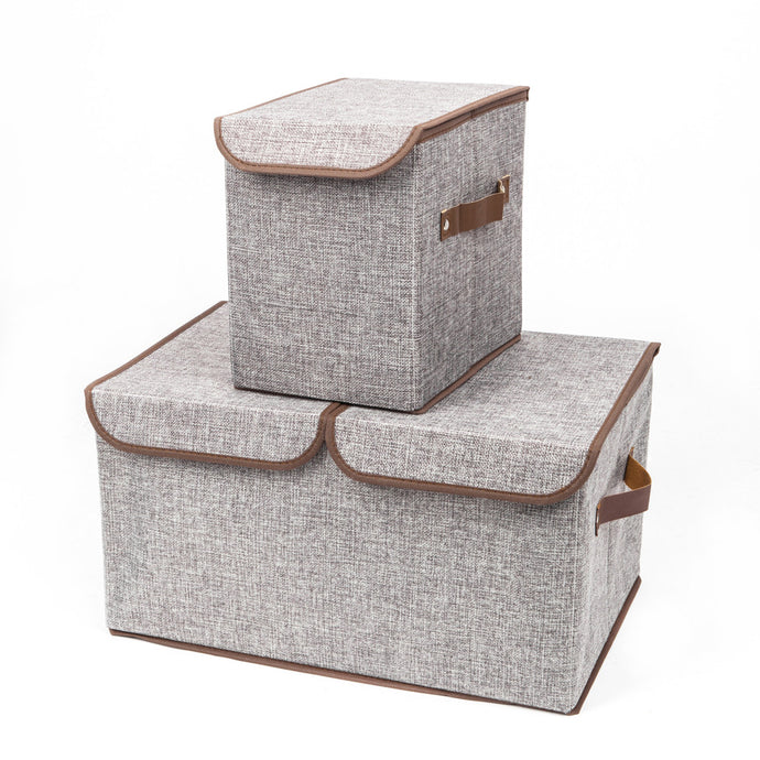 2pcs Storage Boxes Double Cover Box & Single Cover Box Gray
