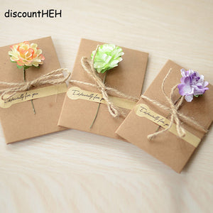 DIY Greeting/Thank You/Blessing Cards School Stationery Supplies Flower Color Random OSS0360 110*175MM & 70*105MM