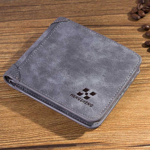 Men Wallets Vintage PU Nubuck Skin Short Purse Luxury Famous Brand Men's Three Folds Wallet For Man