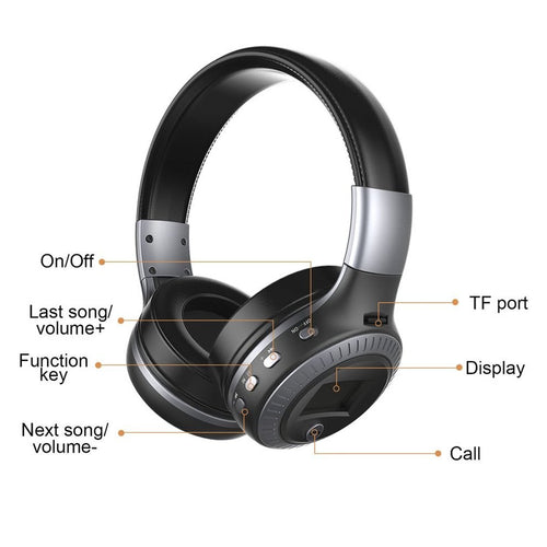 Bluetooth Headphones B19 LCD Display Wireless Stereo Headsets Headphone With Mic Micro Security Digital Card Slot FM Radio