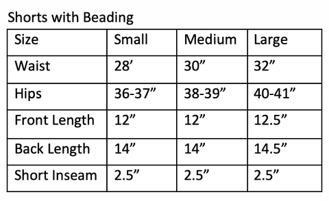 Shorts Sizing Measurement Chart