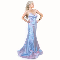 Iridescent Fitted Mermaid Pageant Prom Dress