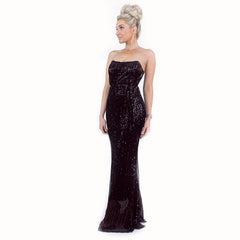 Black Sequin Pageant Prom Dress
