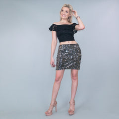 Black Silver Sequin Mini Skirt