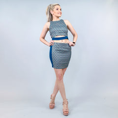 Blue Two Piece Skirt Set