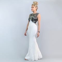 Black White Lace Open Back Pageant Gown Prom Dress