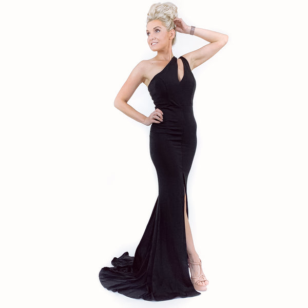 Black Fitted Pageant Evening Gown Prom Dress