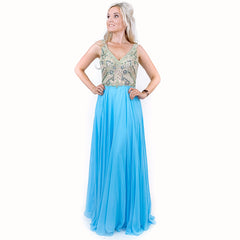 Blue Beaded Chiffon Pageant Evening Gown Prom Dress