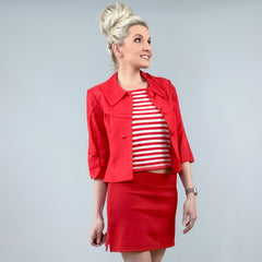 Red Linen Summer Jacket Blazer with Striped Shirt
