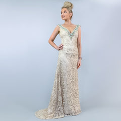 Champagne Lace Rhinestone Pageant Evening Gown