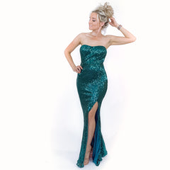 Green Sequin Pageant Prom Dress