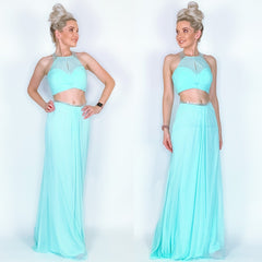 Blue Two Piece Prom Dress