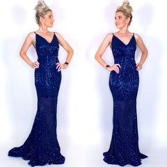 Navy Blue Sequin Open Back Prom Pageant Dress