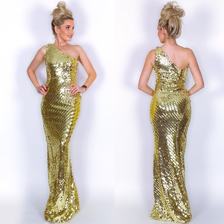 Gold Sequin Pageant Prom Dress