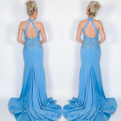 Blue Lace Halter Plunge Pageant Evening Gown Prom Dress