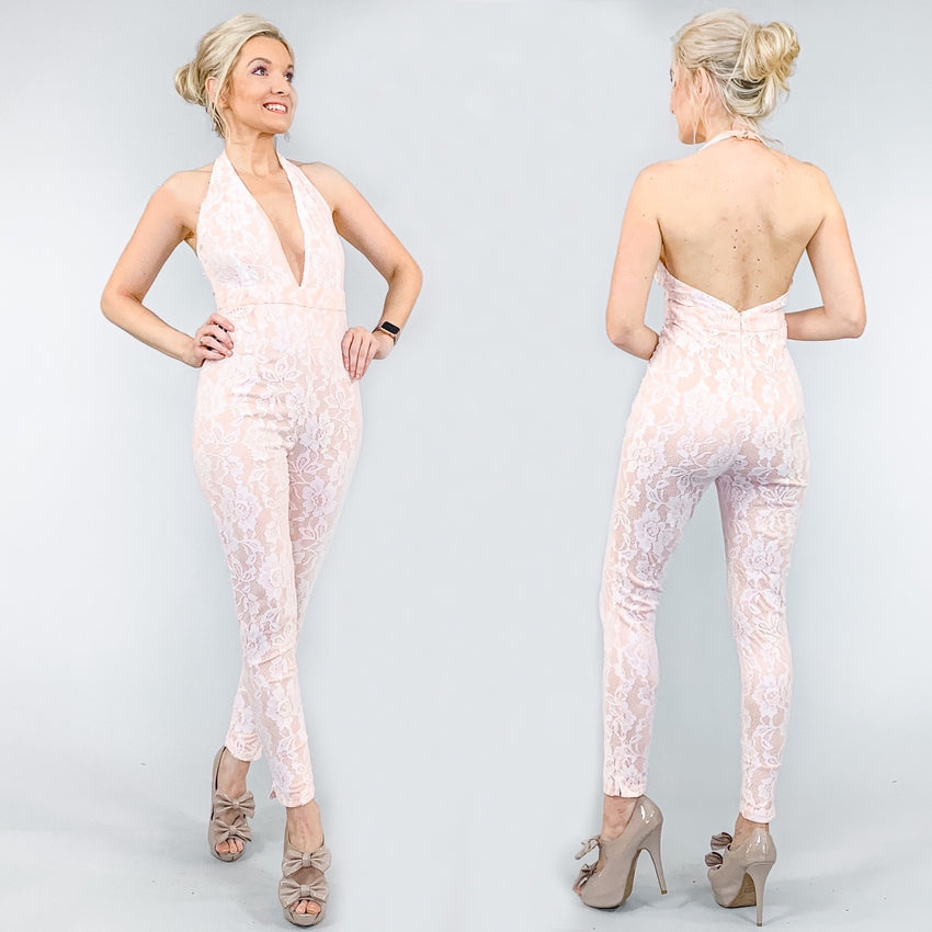 Blush Pink Lace Halter Jumpsuit