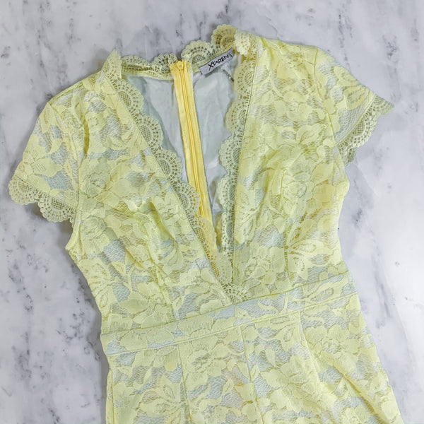 Yellow Lace Shorts Romper