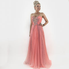 Pink Glam Pageant Prom Dress with Overlay Skirt