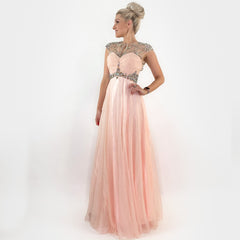 Pink Illusion Rhinestone Prom Pageant Homecoming Formal Long Evening Dress