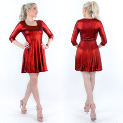 Red Metallic Circle Skirt Mini Dress