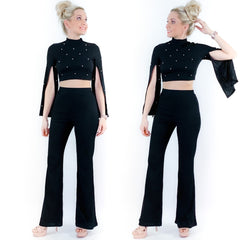 Black Pearl Split Sleeve Two Piece Pants Set