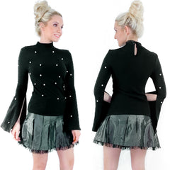 Black Classy Shirt with Pearls and Split Sleeve