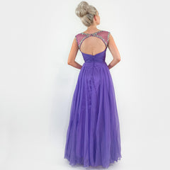 Purple Rhinestone Pageant Prom Dress