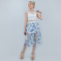 Blue Floral Contemporary Midi Skirt