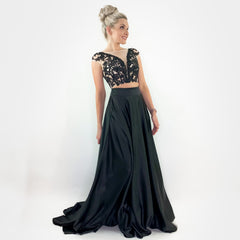 Black Lace Aline Two Piece Prom Pageant Dress