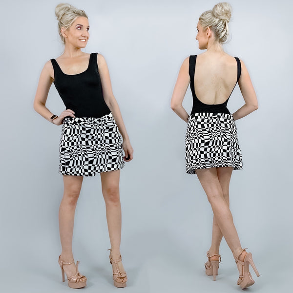 Black and White Pattern Mini Skirt