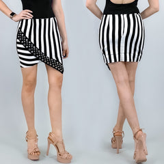 Stripe Asymmetrical Skirt