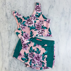Pink Floral Two Piece Shorts Set