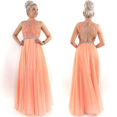 Peach Modest Prom Teen Pageant Dress
